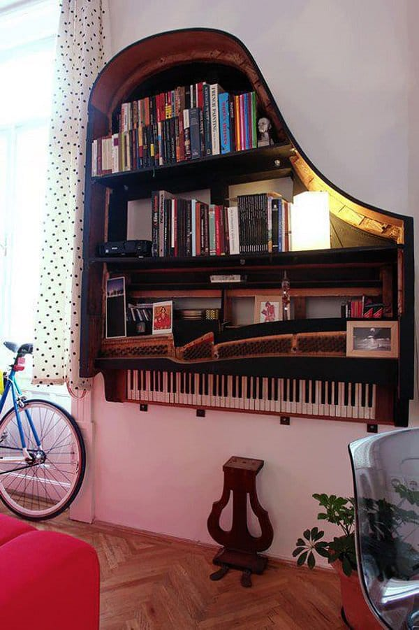 Old Piano Into Bookshelf