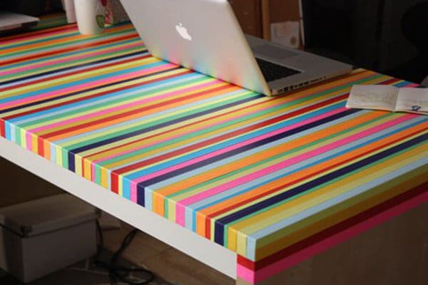 Rejuvenate a tired table with tape