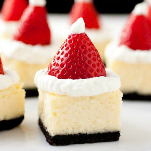 Santa Hat White Chocolate Cheesecake Bites