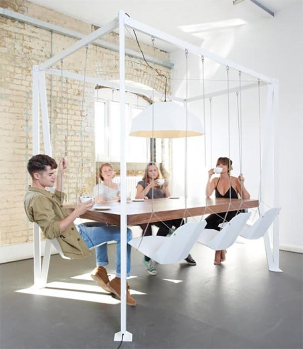Swinging Chairs At Dining Table