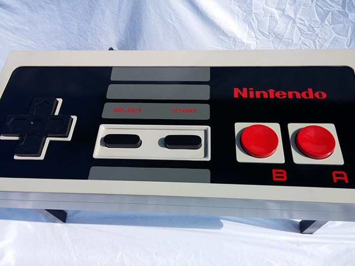 aerial view nintendo nes controller coffee table