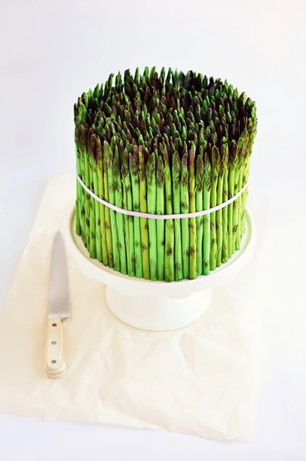 fake asparagus cake