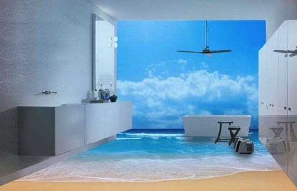 13 3d bathroom floor designs that will mess with your mind for Bathroom floor mural