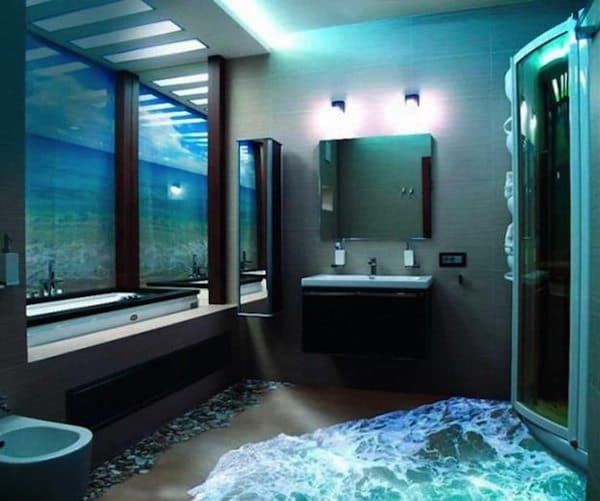 Attractive Bathroom Floorandwall