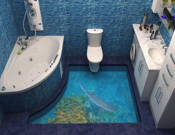 13 3d bathroom floor designs that will mess with your mind for Bathroom 3d floor designs