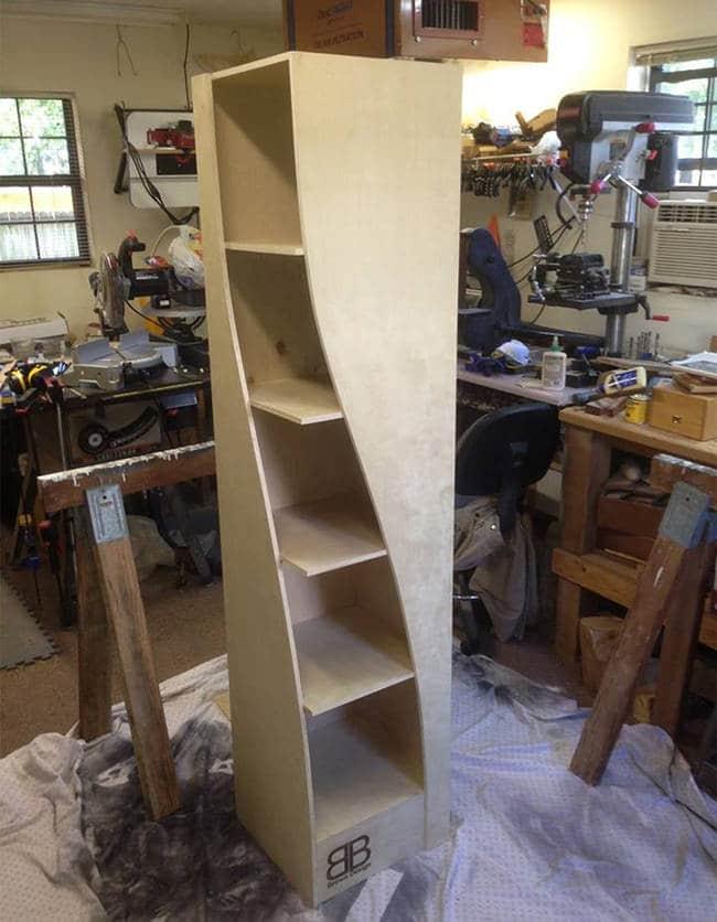 bookshelf before staining