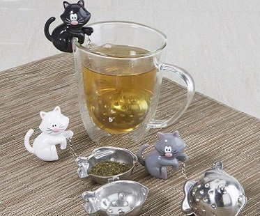 cat and fish tea infuser