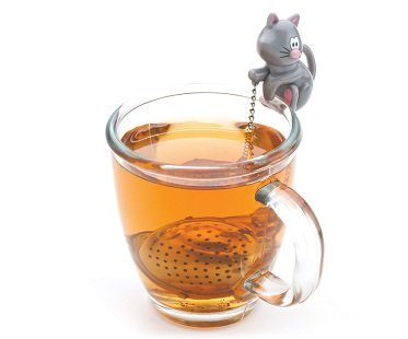 cat and fish tea infuser grey
