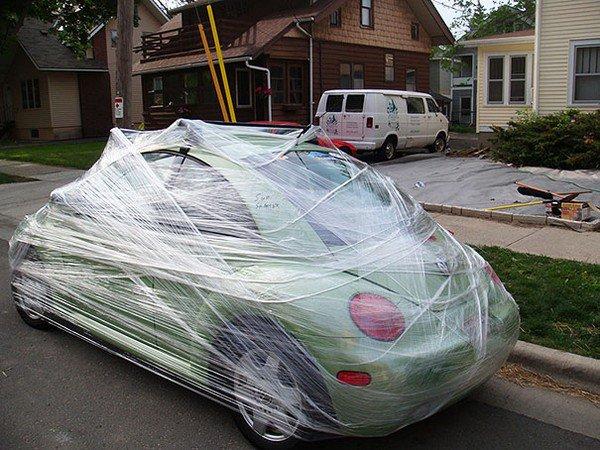 cling wrap their car