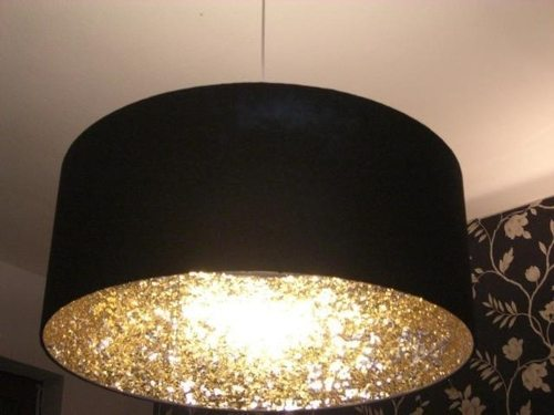 coat inside of lampshade with glitter