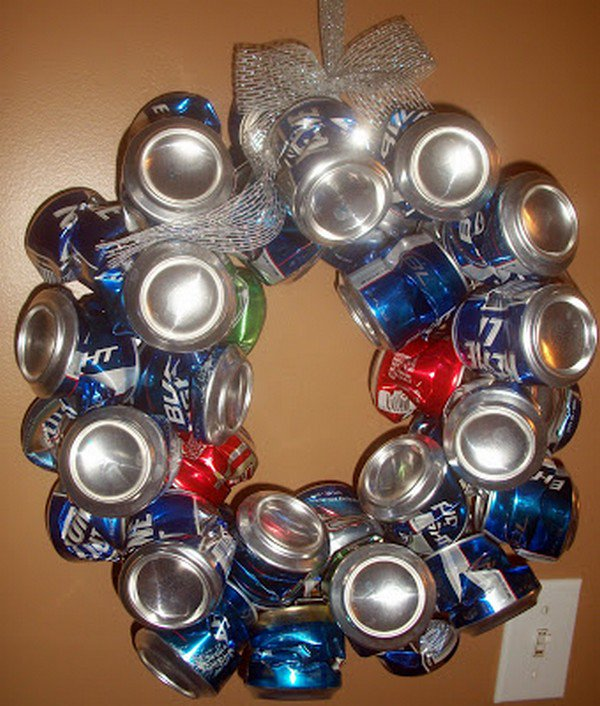 crushed beer can wreath