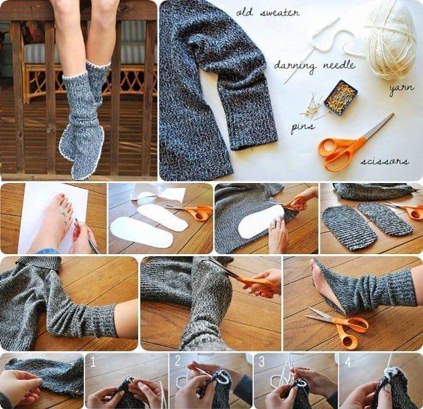 diy sweater socks