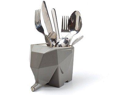 elephant cutlery drainer grey
