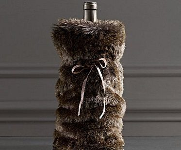 faux fur wine bag brown