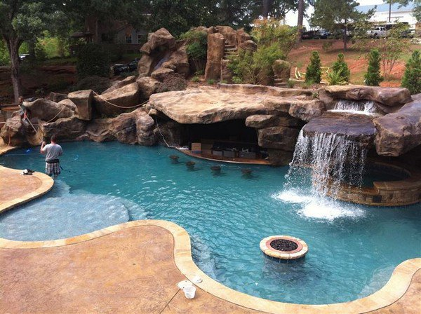 firepit waterfall hot tub