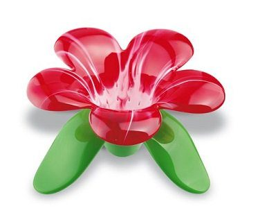 flower tea strainer red