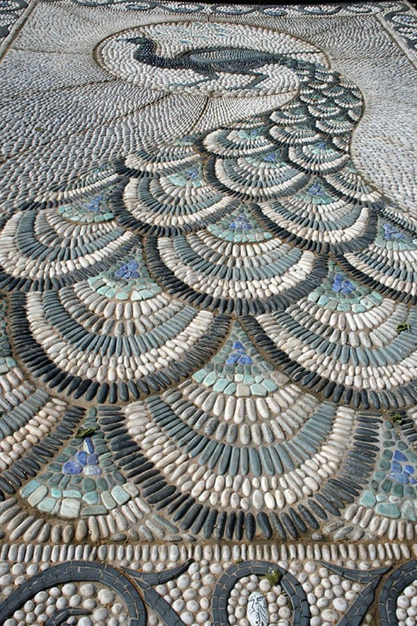 garden-pebble-path-peacock