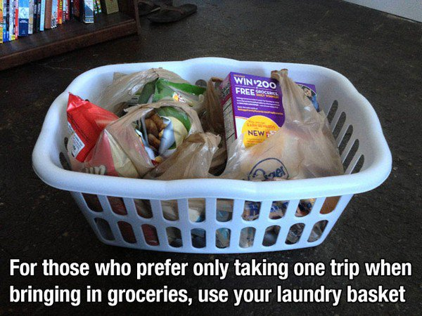 groceries laundry basket