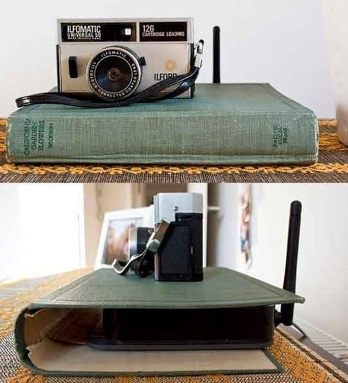 hollowed out book hides unsightly router