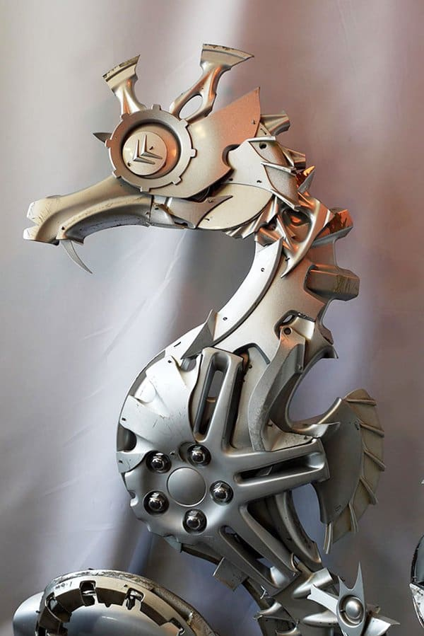 This Artist Turns Old Hubcaps Into Awesome Looking Creatures