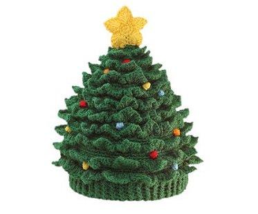 Superb Knitetd Christmas Tree Hat Green