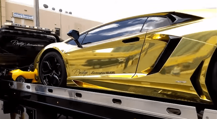 gold lamborghini side close up