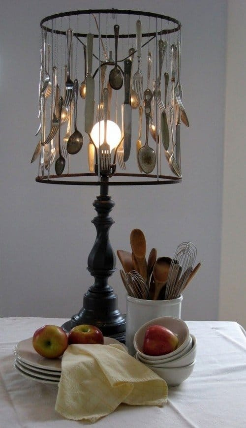 lampshade made with cutlery