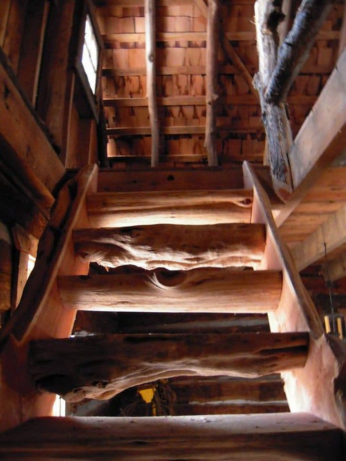 log stairs