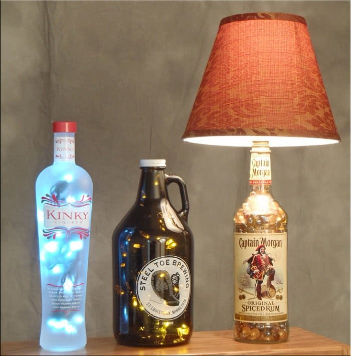 make lamps from old bottles
