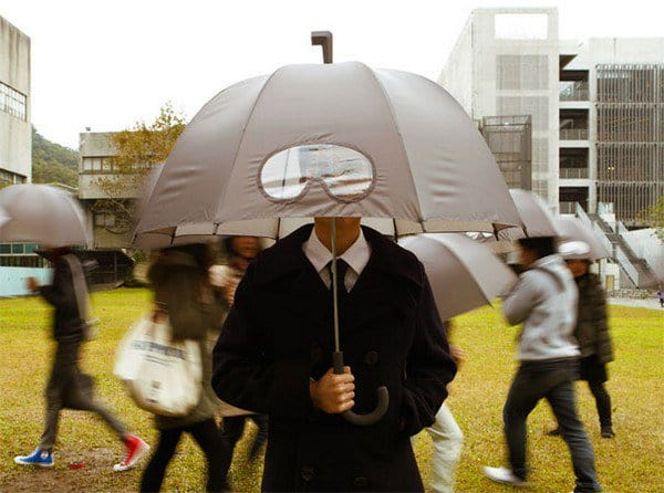 man goggles umbrella