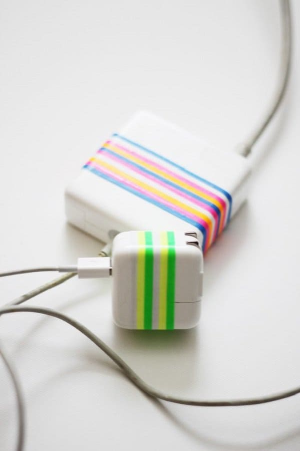 mark power cords with rubber bands