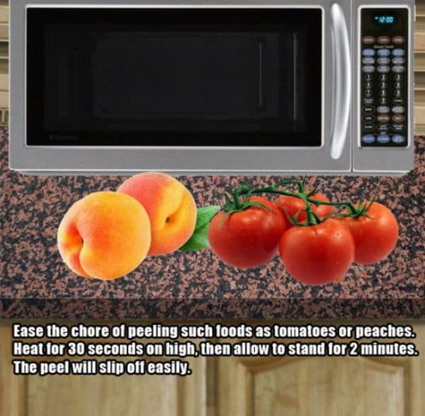 microwave peel fruit veg