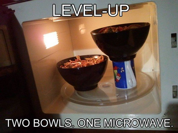 microwave two bowls