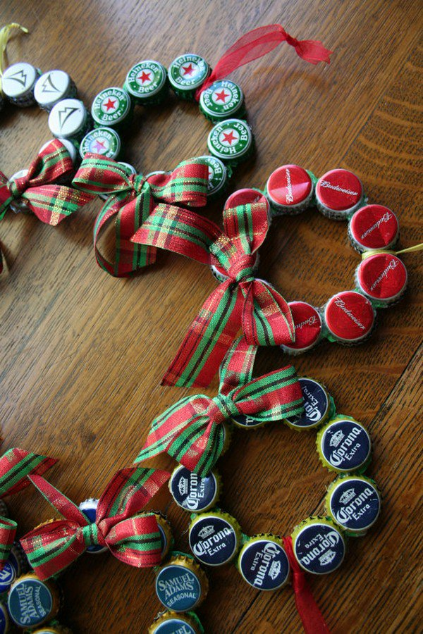 mini beer cap wreaths