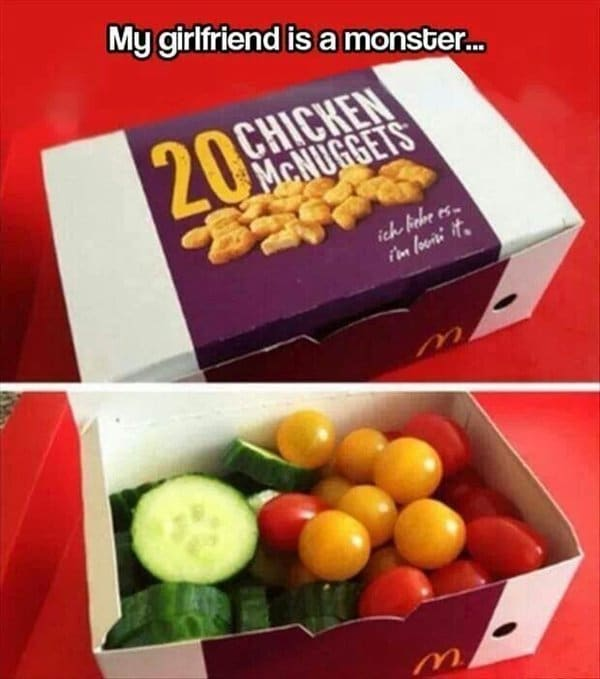 mcdonalds chicken nugget box filled with vegetables harmless prank
