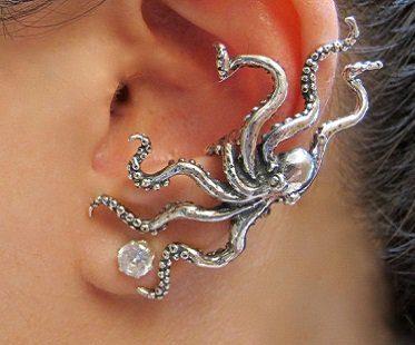 octopus ear cuff silver