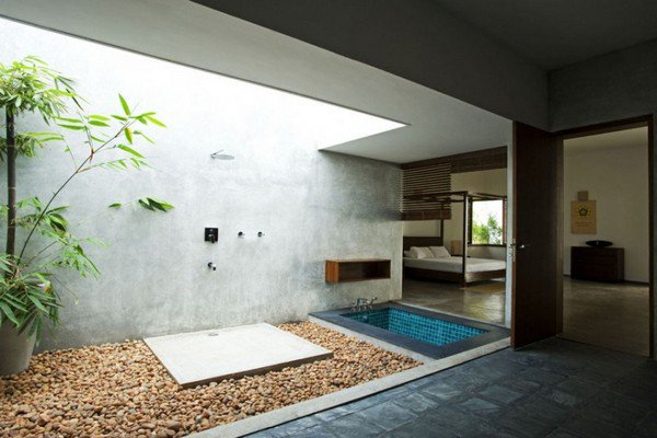 open ceiling shower
