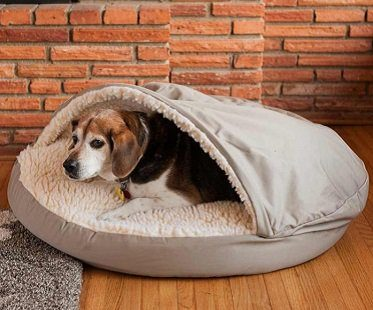pet cave bed grey