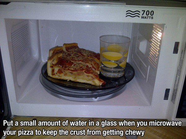 pizza microwave water