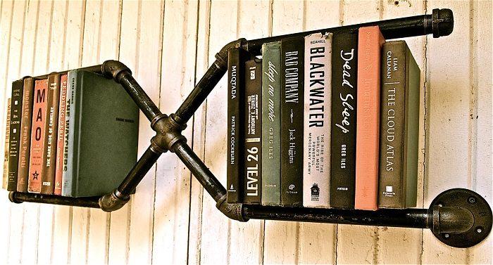 plumbers pipe bookshelves