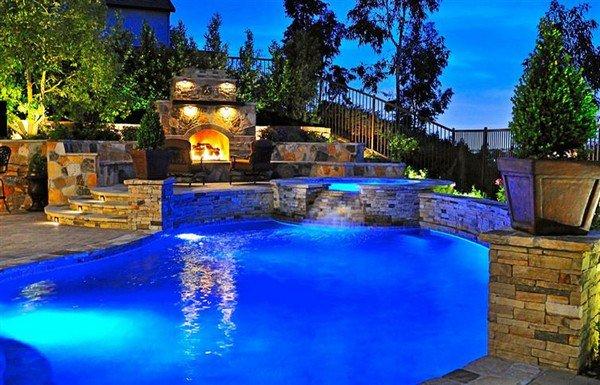 rock outdoor fireplace