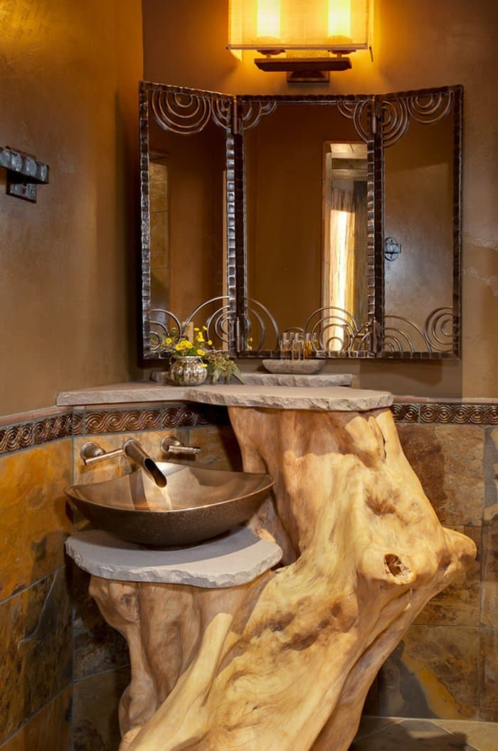 rustic-bathroom-log
