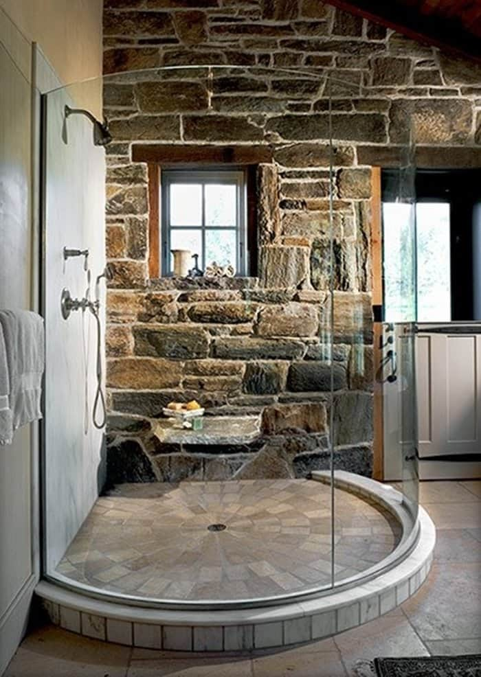 15 rustic bathroom designs you will love for Cabin shower tile ideas