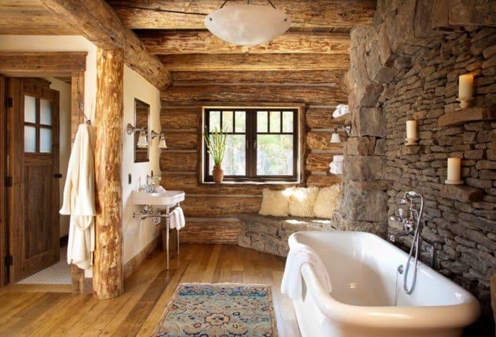 Ordinaire Rustic Bathroom Wood Beams