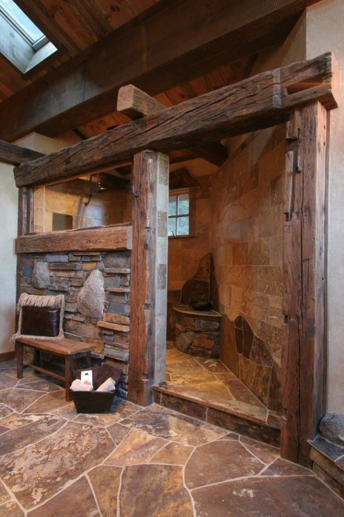Stone And Wood Make A Dark Masculine Interior: 15 Rustic Bathroom Designs You Will Love