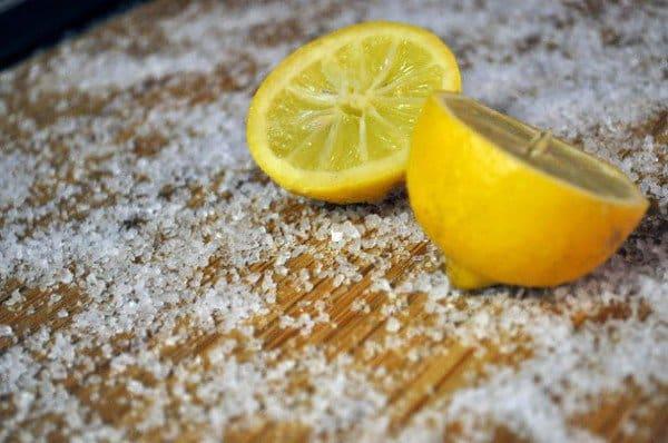 salt and lemons for cutting board