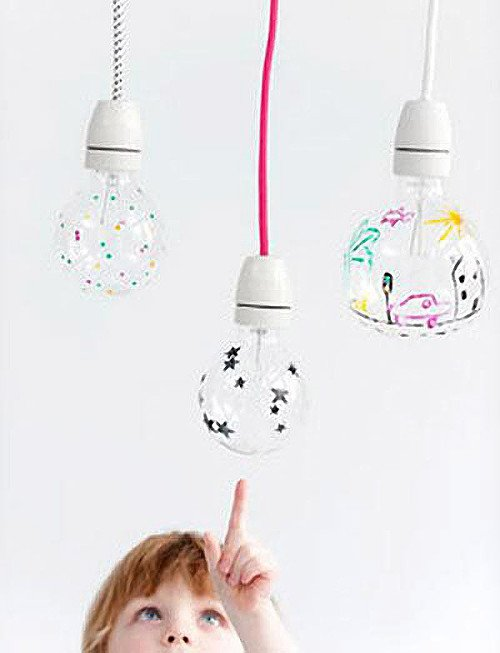 draw designs on lightbulb