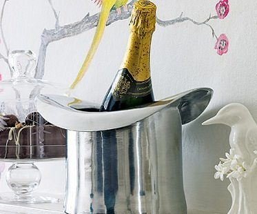 silver top hat ice bucket champagne