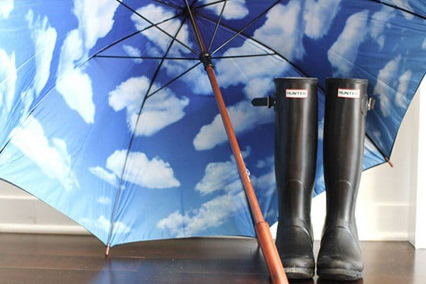 sky umbrella wellies