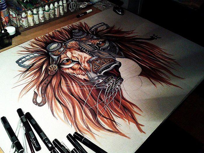 steampunk lion paula duta angle